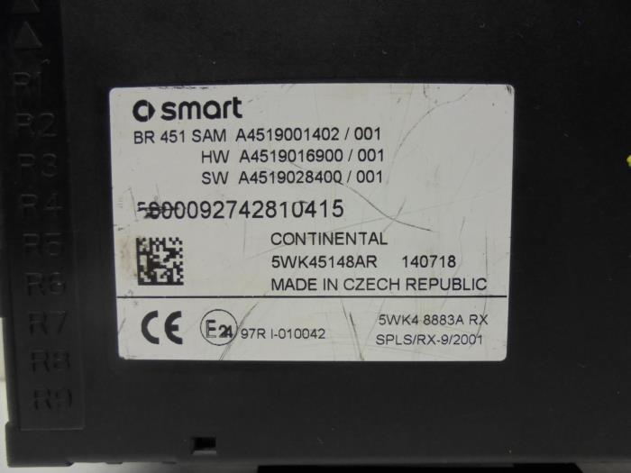 used smart fortwo coup 451 3 electric drive fuse box rh proxyparts com smart fortwo 451 fuse box diagram 2009 smart fortwo fuse box diagram