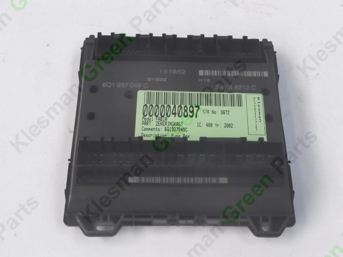 used skoda fabia 6y2 1 4i fuse box 6q1937049c klesman rh proxyparts com