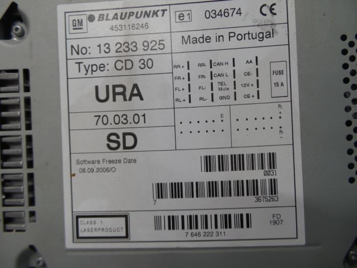 used opel combo (corsa c) 1.3 cdti 16v radio cd player - 13233925