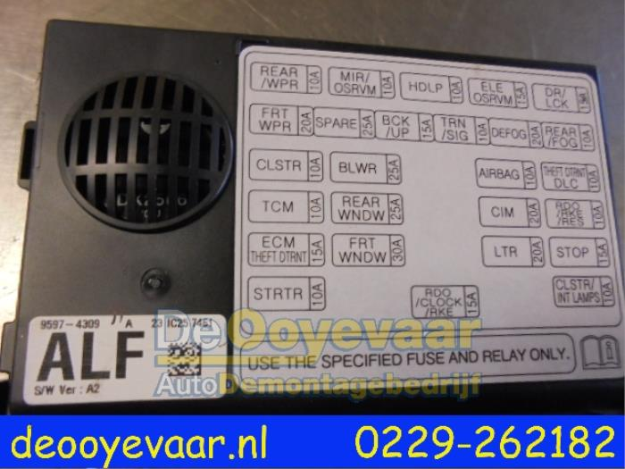 1 used chevrolet spark 1 2 16v fuse box 95974309 de ooyevaar bv fuse box sparking at readyjetset.co