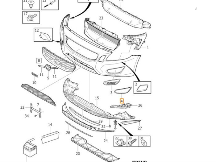 volvo front bumper parts diagram  volvo  wiring diagrams