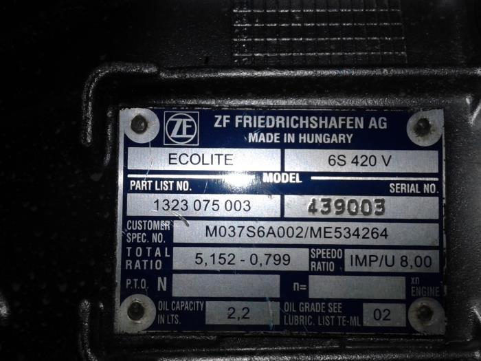 Overhauled Mitsubishi Canter Gearbox - 6S420V 1323075003 - Schoones